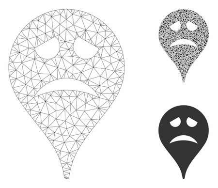 Mesh sadly face map marker model with triangle mosaic icon. Wire frame triangular network of sadly face map marker. Vector collage of triangle parts in variable sizes, and color tones.