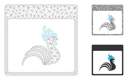 Mesh rooster calendar page model with triangle mosaic icon. Wire carcass triangular mesh of rooster calendar page. Vector mosaic of triangle parts in various sizes, and color hues.
