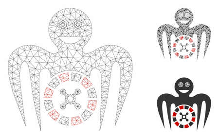 Mesh roulette mad monster model with triangle mosaic icon. Wire carcass triangular network of roulette mad monster. Vector collage of triangle parts in various sizes, and color tones.