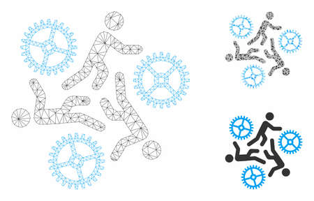Mesh running persons for gears model with triangle mosaic icon. Wire frame polygonal mesh of running persons for gears. Vector mosaic of triangle elements in different sizes, and color tones.