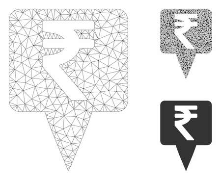Mesh rupee map pointer model with triangle mosaic icon. Wire frame triangular network of rupee map pointer. Vector mosaic of triangle elements in different sizes, and color hues.