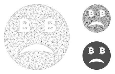 Mesh sad Bitcoin face model with triangle mosaic icon. Wire carcass polygonal mesh of sad Bitcoin face. Vector mosaic of triangle parts in variable sizes, and color hues.