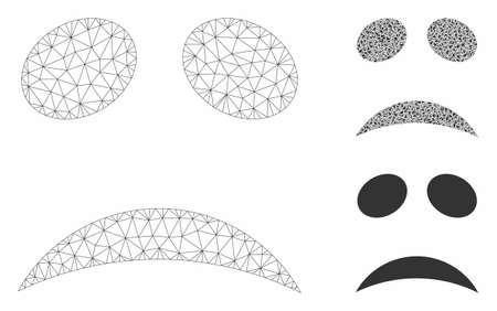 Mesh sad emote face model with triangle mosaic icon. Wire frame polygonal mesh of sad emote face. Vector composition of triangle parts in variable sizes, and color shades.