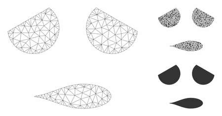 Mesh sad emoticon face model with triangle mosaic icon. Wire frame polygonal mesh of sad emoticon face. Vector mosaic of triangle elements in variable sizes, and color tints.