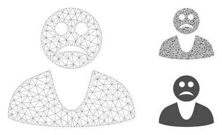 Mesh sad guy model with triangle mosaic icon. Wire carcass polygonal mesh of sad guy. Vector mosaic of triangle elements in various sizes, and color tones. Abstract flat mesh sad guy, Stock Illustratie