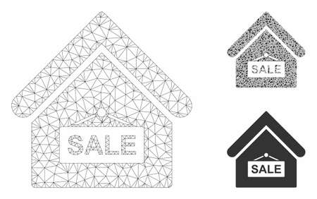 Mesh sale building model with triangle mosaic icon. Wire frame polygonal mesh of sale building. Vector composition of triangle parts in variable sizes, and color shades.