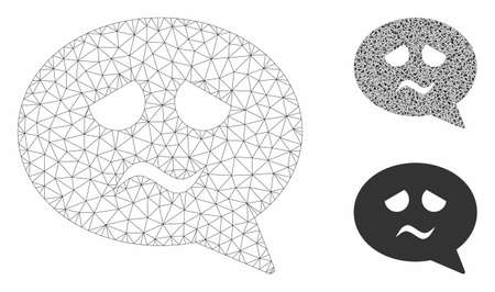 Mesh sadness face message model with triangle mosaic icon. Wire carcass polygonal mesh of sadness face message. Vector mosaic of triangle parts in various sizes, and color tones.