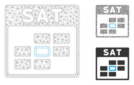 Mesh Saturday calendar grid model with triangle mosaic icon. Wire frame triangular mesh of Saturday calendar grid. Vector mosaic of triangle elements in various sizes, and color hues.