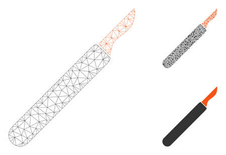 Mesh scalpel model with triangle mosaic icon. Wire frame triangular mesh of scalpel. Vector collage of triangle parts in variable sizes, and color tinges. Abstract flat mesh scalpel, 일러스트