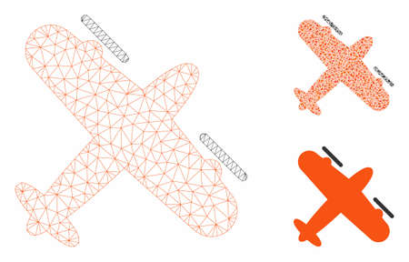 Mesh screw aeroplane model with triangle mosaic icon. Wire frame polygonal mesh of screw aeroplane. Vector mosaic of triangle elements in variable sizes, and color tones.