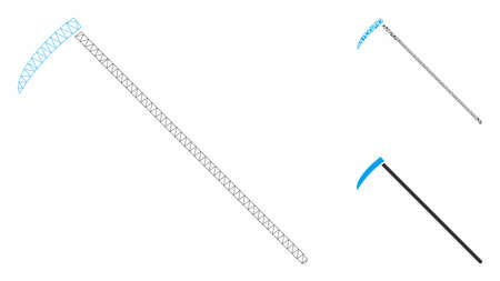 Mesh scythe model with triangle mosaic icon. Wire carcass triangular mesh of scythe. Vector mosaic of triangle parts in various sizes, and color shades. Abstract 2d mesh scythe,