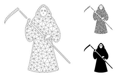 Mesh scytheman model with triangle mosaic icon. Wire frame triangular mesh of scytheman. Vector mosaic of triangle parts in different sizes, and color tints. Abstract 2d mesh scytheman,  イラスト・ベクター素材