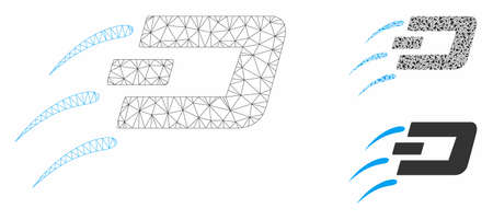 Mesh send Dash model with triangle mosaic icon. Wire carcass polygonal mesh of send Dash. Vector mosaic of triangle elements in variable sizes, and color tints. Abstract flat mesh send Dash,