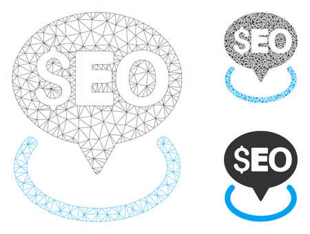 Mesh seo geotargeting model with triangle mosaic icon. Wire frame polygonal mesh of seo geotargeting. Vector mosaic of triangle parts in various sizes, and color tones.