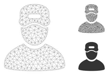 Mesh service boy model with triangle mosaic icon. Wire carcass polygonal mesh of service boy. Vector collage of triangle parts in variable sizes, and color hues. Abstract 2d mesh service boy,