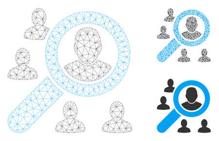 Mesh search users model with triangle mosaic icon. Wire frame polygonal mesh of search users. Vector mosaic of triangle elements in different sizes, and color tones. Abstract 2d mesh search users,