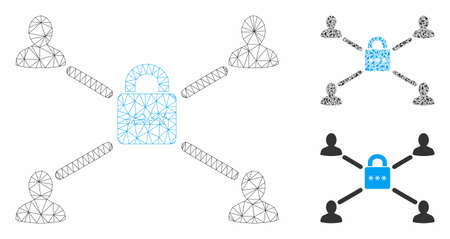 Mesh secured lock relations model with triangle mosaic icon. Wire carcass polygonal mesh of secured lock relations. Vector mosaic of triangle elements in various sizes, and color tones.