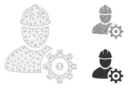 Mesh service man model with triangle mosaic icon. Wire carcass triangular mesh of service man. Vector mosaic of triangles in various sizes, and color tones. Abstract flat mesh service man,