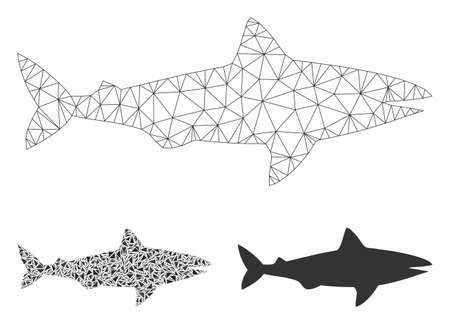 Mesh shark model with triangle mosaic icon. Wire carcass polygonal network of shark. Vector mosaic of triangle elements in variable sizes, and color hues. Abstract 2d mesh shark,