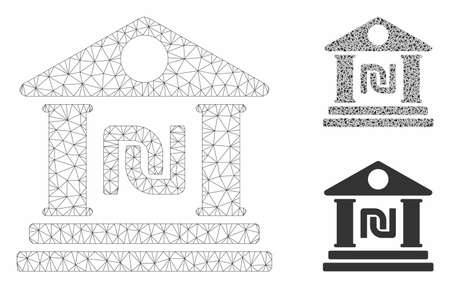 Mesh shekel bank building model with triangle mosaic icon. Wire carcass triangular mesh of shekel bank building. Vector mosaic of triangle elements in variable sizes, and color shades. Ilustracja