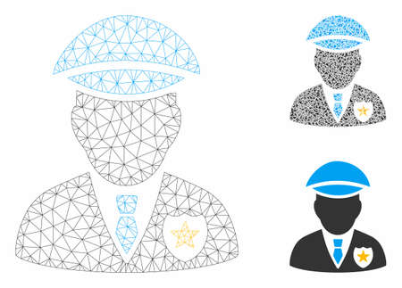 Mesh sheriff model with triangle mosaic icon. Wire frame triangular network of sheriff. Vector mosaic of triangle elements in various sizes, and color shades. Abstract 2d mesh sheriff,