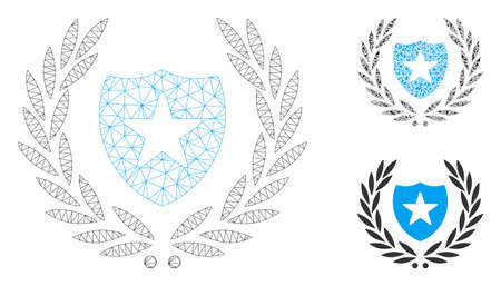 Mesh shield laurel wreath model with triangle mosaic icon. Wire carcass triangular mesh of shield laurel wreath. Vector composition of triangle elements in variable sizes, and color tones. Illusztráció