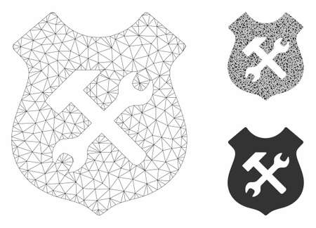 Mesh shield options model with triangle mosaic icon. Wire carcass triangular mesh of shield options. Vector collage of triangle elements in variable sizes, and color hues.
