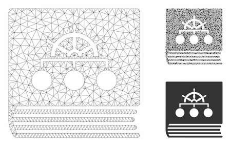 Mesh ship guide book model with triangle mosaic icon. Wire carcass triangular mesh of ship guide book. Vector mosaic of triangles in various sizes, and color tones. Abstract 2d mesh ship guide book, Ilustração