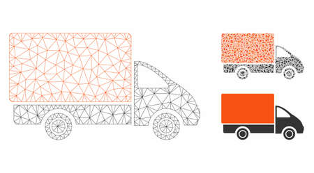 Mesh shipment car model with triangle mosaic icon. Wire frame polygonal mesh of shipment car. Vector mosaic of triangle elements in different sizes, and color shades. Abstract flat mesh shipment car,