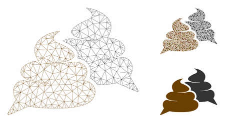 Mesh shit chat model with triangle mosaic icon. Wire frame triangular mesh of shit chat. Vector mosaic of triangle parts in different sizes, and color tinges. Abstract flat mesh shit chat, Ilustração