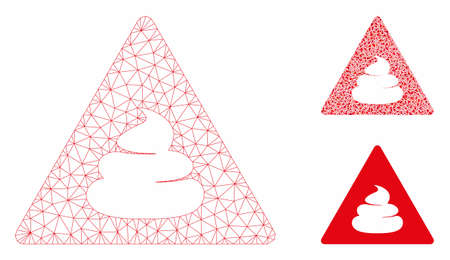 Mesh shit danger model with triangle mosaic icon. Wire carcass polygonal network of shit danger. Vector collage of triangle elements in variable sizes, and color hues. Abstract 2d mesh shit danger,