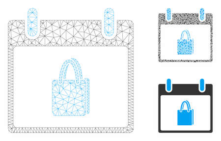 Mesh shopping bag calendar day model with triangle mosaic icon. Wire frame triangular mesh of shopping bag calendar day. Vector collage of triangle elements in different sizes, and color shades. Stock Illustratie