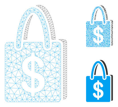 Mesh shopping bag model with triangle mosaic icon. Wire frame triangular mesh of shopping bag. Vector composition of triangle parts in variable sizes, and color tints. Abstract 2d mesh shopping bag, 向量圖像