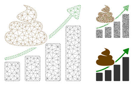 Mesh shit growing chart model with triangle mosaic icon. Wire frame triangular mesh of shit growing chart. Vector mosaic of triangle elements in variable sizes, and color tinges.