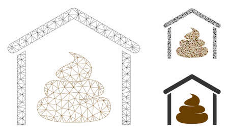 Mesh shit storage hangar model with triangle mosaic icon. Wire carcass polygonal mesh of shit storage hangar. Vector mosaic of triangle elements in different sizes, and color tones. Ilustração