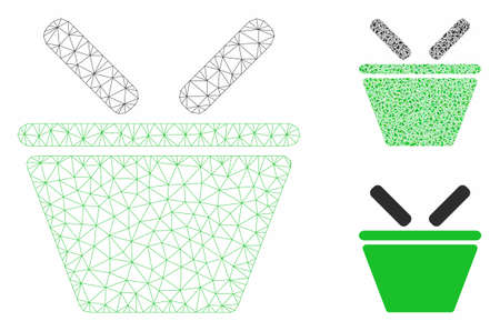 Mesh shopping basket model with triangle mosaic icon. Wire frame triangular mesh of shopping basket. Vector mosaic of triangle parts in variable sizes, and color tints.