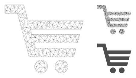 Mesh shopping cart model with triangle mosaic icon. Wire carcass polygonal mesh of shopping cart. Vector mosaic of triangle elements in variable sizes, and color tints. Abstract 2d mesh shopping cart, Illusztráció