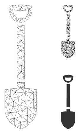 Mesh shovel model with triangle mosaic icon. Wire carcass polygonal mesh of shovel. Vector mosaic of triangles in various sizes, and color tinges. Abstract flat mesh shovel, created from triangles.