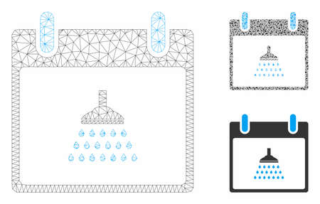 Mesh shower calendar day model with triangle mosaic icon. Wire carcass polygonal network of shower calendar day. Vector mosaic of triangle elements in various sizes, and color tones.