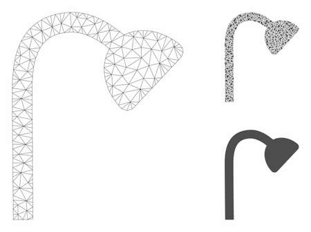 Mesh shower pipe model with triangle mosaic icon. Wire frame triangular mesh of shower pipe. Vector mosaic of triangle elements in various sizes, and color tints. Abstract flat mesh shower pipe,
