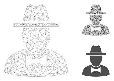 Mesh spy model with triangle mosaic icon. Wire frame triangular mesh of spy. Vector composition of triangle elements in variable sizes, and color tinges. Abstract flat mesh spy,