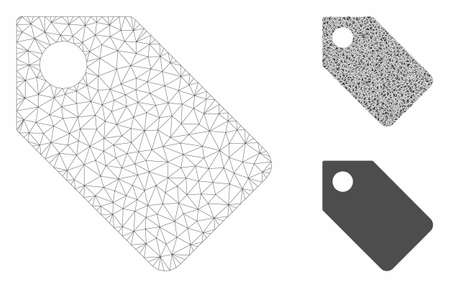Mesh tag model with triangle mosaic icon. Wire frame triangular mesh of tag. Vector mosaic of triangles in different sizes, and color tones. Abstract 2d mesh tag, created from triangular grid. Illusztráció