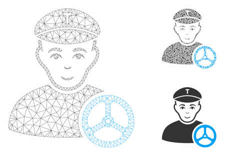 Mesh taxi driver model with triangle mosaic icon. Wire carcass triangular mesh of taxi driver. Vector collage of triangle parts in various sizes, and color tinges. Abstract 2d mesh taxi driver,