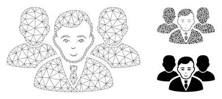 Mesh team model with triangle mosaic icon. Wire carcass polygonal mesh of team. Vector mosaic of triangle parts in various sizes, and color tones. Abstract flat mesh team,