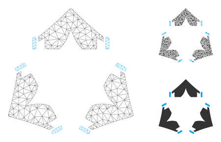 Mesh tent camp model with triangle mosaic icon. Wire carcass triangular mesh of tent camp. Vector composition of triangle parts in various sizes, and color tinges. Abstract 2d mesh tent camp,