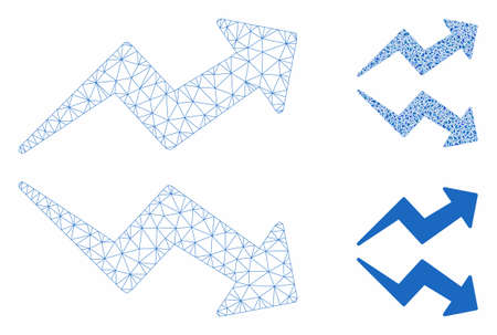 Mesh trends model with triangle mosaic icon. Wire frame polygonal mesh of trends. Vector mosaic of triangle parts in different sizes, and color hues. Abstract flat mesh trends,