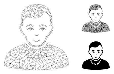 Mesh trendy guy model with triangle mosaic icon. Wire frame polygonal mesh of trendy guy. Vector collage of triangle elements in different sizes, and color tinges. Abstract 2d mesh trendy guy,