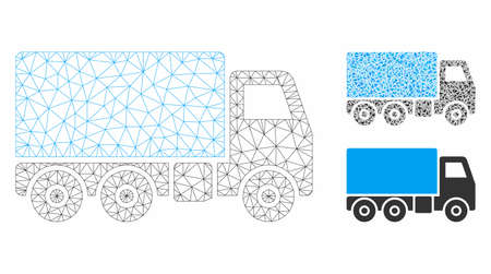 Mesh truck model with triangle mosaic icon. Wire carcass triangular mesh of truck. Vector collage of triangle elements in variable sizes, and color tints. Abstract flat mesh truck,