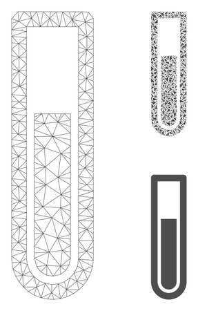 Mesh test tube model with triangle mosaic icon. Wire frame triangular mesh of test tube. Vector composition of triangle parts in various sizes, and color tints. Abstract 2d mesh test tube,