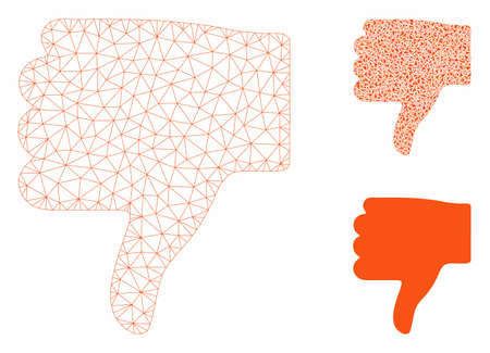 Mesh thumb down model with triangle mosaic icon. Wire carcass polygonal network of thumb down. Vector mosaic of triangle parts in different sizes, and color tints. Abstract 2d mesh thumb down,